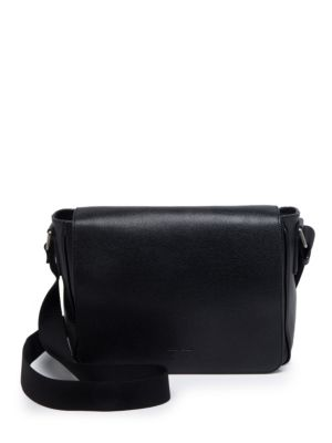 Solid Leather Messenger Bag by Giorgio Armani