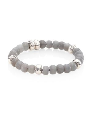 Bamboo Grey Diamond, Grey Moonstone & Sterling Silver Bead Bracelet by John Hardy