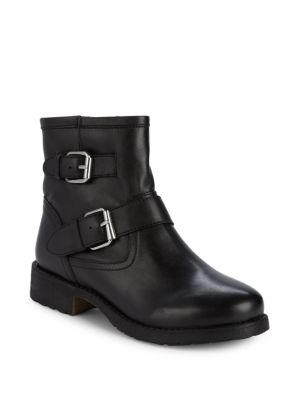 Morty Leather Buckle Booties by Steve Madden