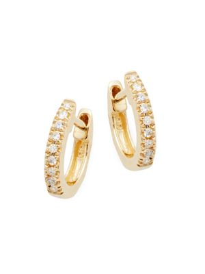 14 K Gold & Diamond Huggie Earrings by Saks Fifth Avenue