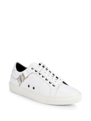 Logo Plaque Leather Sneakers by Versace Collection