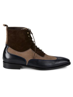 18769 Leather & Suede Wingtip Boots by Mezlan
