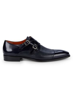 Textured Leather Double Monk Strap Dress Shoes by Mezlan