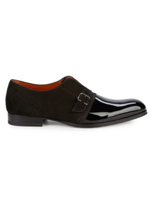 Patent Leather & Suede Monk Strap Shoes by Mezlan