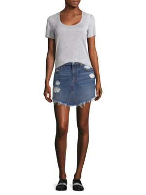 Distressed Denim Skirt by 7 For All Mankind