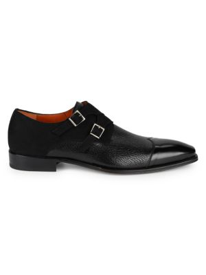 Textured Leather & Suede Double Monk Strap Loafers by Mezlan