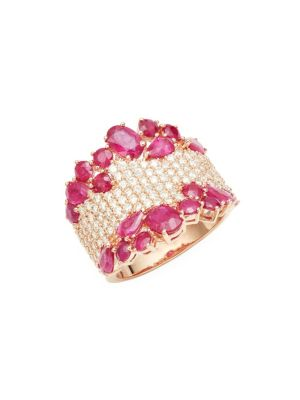 14k Rose Gold, Pink Sapphire & Diamond Ring by Effy