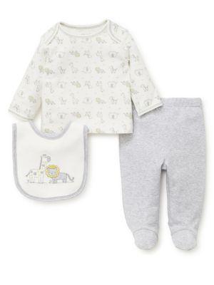 Baby's Three Piece Safari Pals Cotton Top, Pants & Bib Set by Little Me