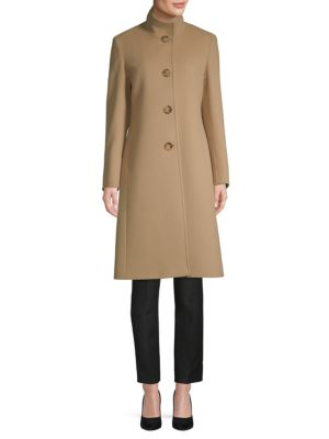Stand Collar Wool & Cashmere Coat by Cinzia Rocca