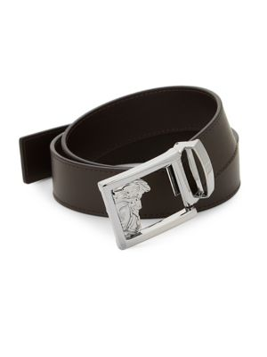 Medusa Logo Buckle Leather Belt by Versace Collection