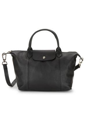 Le Pliage Cuir Leather Top Handle Bag by Longchamp