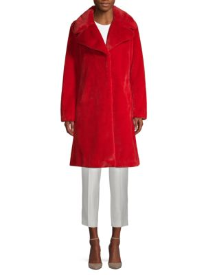 Notch Collar Faux Fur Coat by 7 For All Mankind
