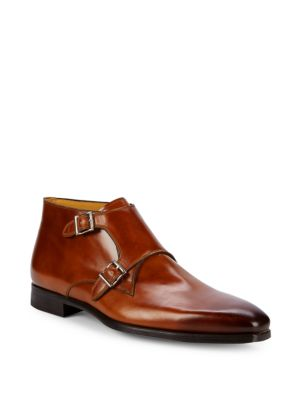 Double Monkstrap Leather Boots by Saks Fifth Avenue By Magnanni