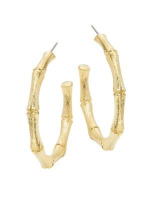Medium Goldtone Bamboo Hoop Earrings by Kenneth Jay Lane