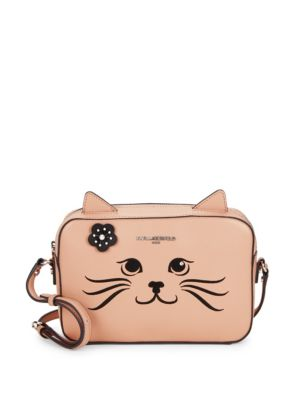 Feline Embroidery Leather Mini Bag by Karl Lagerfeld Paris
