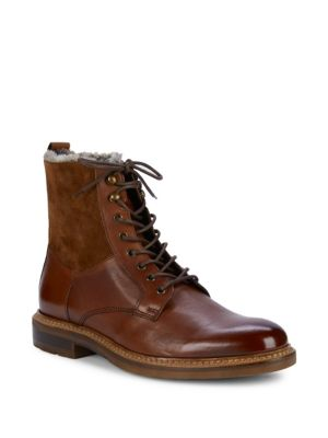 Shearling Lined Leather Lace Up Boots by Bruno Magli