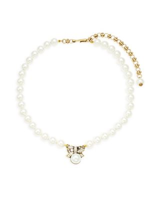 Faux Pearl & Crystal Mini Bow Dot Pendant Necklace by Heidi Daus