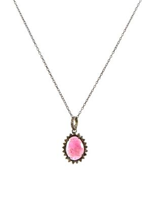 Elena Diamond Halo Tourmaline Pendant Necklace by Adornia Fine Jewelry