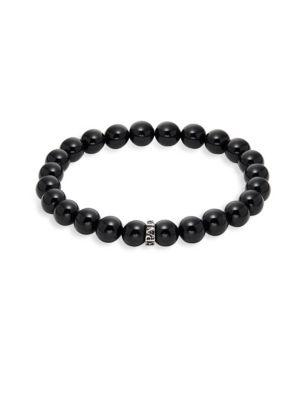 Black Obsidian Beaded Bracelet by Perepaix