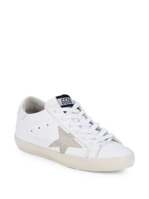 Star Patch Leather Low Top Sneakers by Golden Goose Deluxe Brand