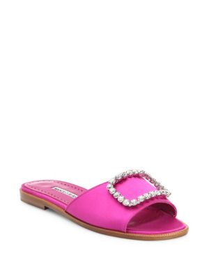 Crystal Embellished Satin Slides by Manolo Blahnik