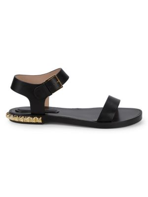 Rosewood Embellished Leather Flat Sandals by Stuart Weitzman