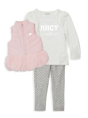 Little Girl's 3 Piece Top, Vest & Leggings Set by Juicy Couture
