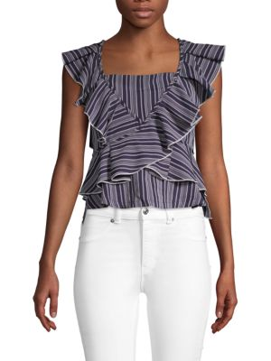 Striped Ruffle Top by English Factory