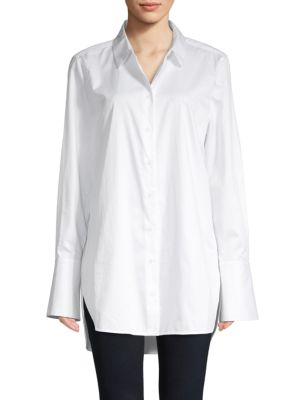 Arlette High Low Cotton Button Down Shirt by Equipment