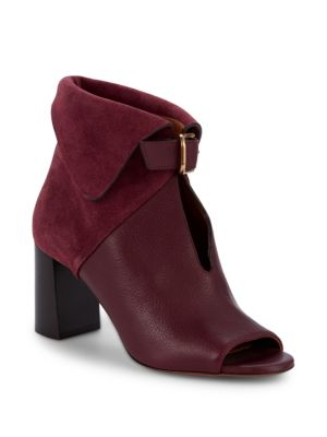 Suede & Leather Foldover Stack Heel Booties by Chloé