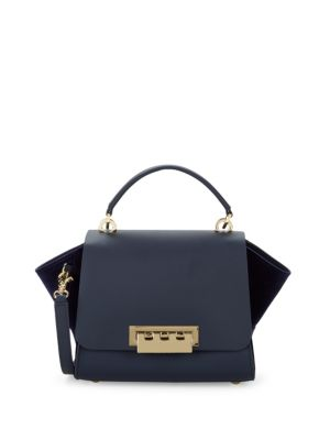 Eartha Velvet Trim Leather Satchel by Zac Zac Posen