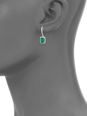 14 K White Gold, Diamond & Emerald Earrings by Effy