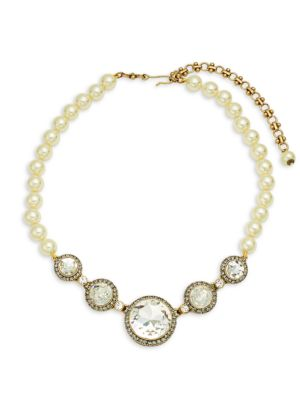 Faux Pearl Round Station Necklace by Heidi Daus