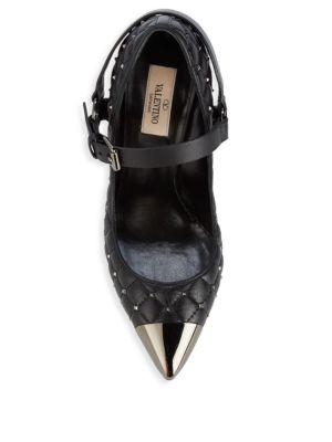 Rockstud Spike Leather Cap Toe Mary Jane Pumps by Valentino Garavani