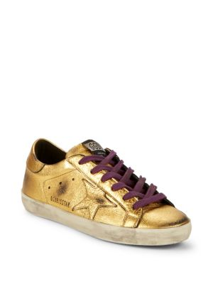 Metallic Low Top Leather Sneakers by Golden Goose Deluxe Brand