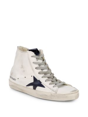 Superstar Distressed Leather High Top Sneakers by Golden Goose Deluxe Brand