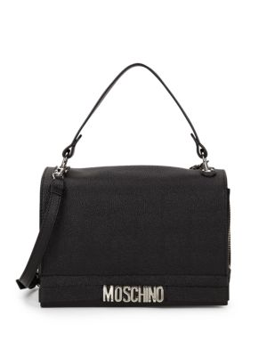 Nichel Galavan Pebbled Leather Messenger Bag by Moschino