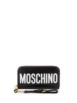 Logo Leather Clutch by Moschino