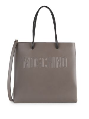 Logo Embossed Leather Tote by Moschino