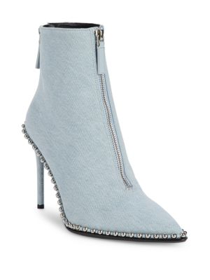 Eri Washed Denim Studded Booties by Alexander Wang