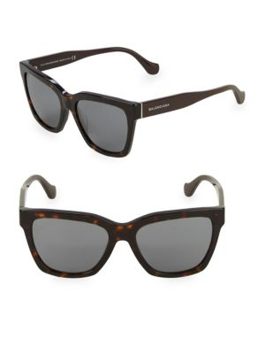 Tortoiseshell 55 Mm Square Sunglasses by Balenciaga