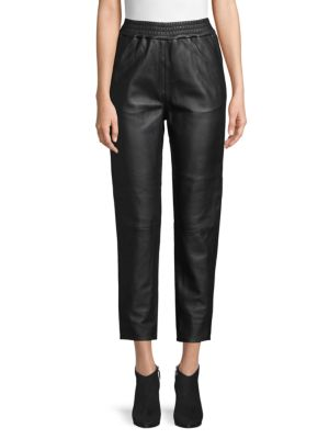 Cropped Leather Joggers by Wythe Ny