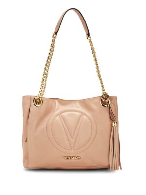 Luisa2 Logo Embroidered Leather Tote by Valentino By Mario Valentino