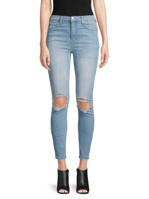 High Waist Distressed Knee Skinny Jeans by Free People