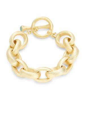 Mint Chalcedony Crystal Rolo Link Bracelet by Rivka Friedman