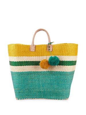Colorblock Straw Tote by Mar Y Sol