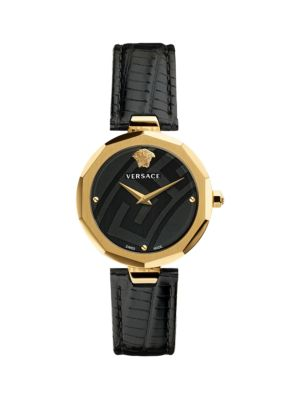 Logo Stainless Steel & Leather Strap Watch by Versace