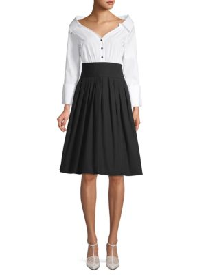 Colorblock Cotton Fit & Flare Dress by Alice + Olivia