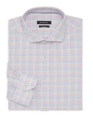 Bugatchi Shaped Fit Grid Print Dress Shirt