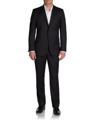 Slim Fit Solid Wool Suit by Saks Fifth Avenue Made In Italy